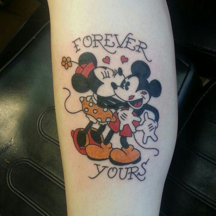 Traditional Mickey mouse tattoo Fantastic Old school Minnie and Mickey Mouse design, a medium size tattoo on the right arm.    - Download