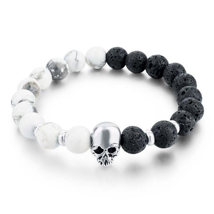 Natural Stone Bracelets Skull & Bangles Lava Beads Elastic - 12 Styles