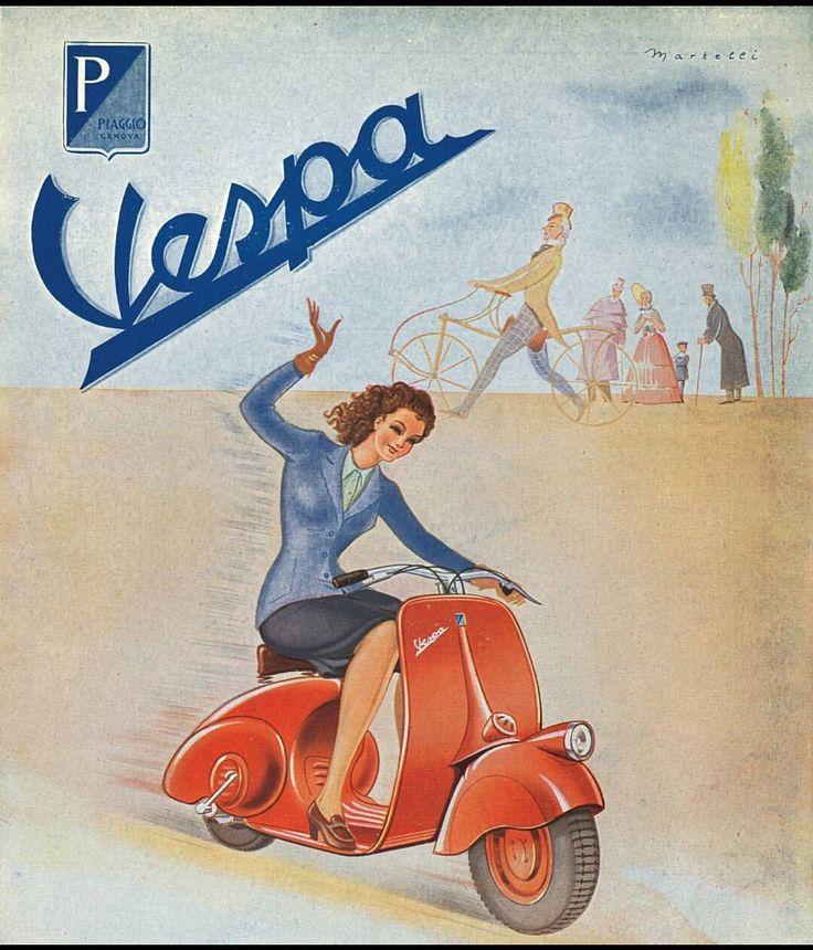 """120 curtidas, 1 comentários - Vespa España (@vespa_es) no Instagram: """"No os encanta esta gráfica del año 1946? #heritage #vespa #retro #vespalovers #memories"""""""