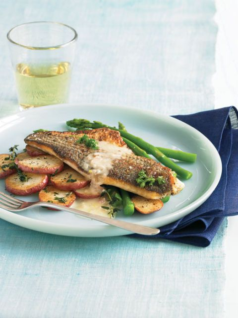 striped bass with lime butter with potatoes