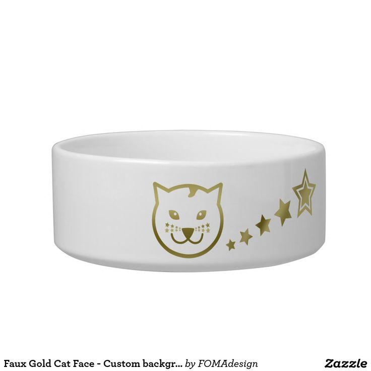 Faux Gold Cat Face and Stars - Custom background color / Pet Food Bowl, by FOMAdesign