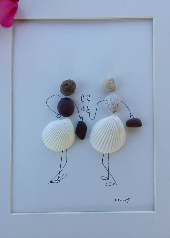 Pebble art shells girls Two beautiful, elegant ladies happily chatting .. Perhaps the sisters or girlfriends, maybe even a mother and daughter or relatives .. A beautiful image created from selected samples of stone and shells from Jadrana.Tekstura stone is beautiful .. It works as a coral .. Perfectly harmonious and beautiful composition. This pebble art can be beautiful home decor, beauty salon, spaces for women and such events or gift friends, sisters, daughters .. Size : 12 x 10 inch…