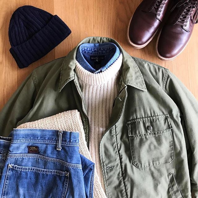 2017/02/02 08:06:02 the.daily.obsessions Today's Outfit. ↓ 60's Vintage U.S.Navy #A2DeckJacket #JohnTulloch Wool Ribbed Sweater #RalphLauren Indigo Denim BD-Shirt #Inverallan Wool Knit Cap #Inverallan Wool Scarf 60's Vintage #Lee #191Z Denim Work Pants #Alden no45960H Chrome Excel Leather 6in.Boot ↓ #OutFitoftheDay #OOTD #OutFitGrid #DailyFashion #Cordinate #Vintage #Fashion #FashionPost #今日の服 #ビンテージ #ファッション #アメカジ #コーディネート #ジョンタロック #ラルフローレン #インバーアラン #リー #オールデン