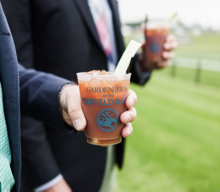 A custom frosted tumbler is the perfect party favor for an outdoors event. The Garden & Gun tailgating tent at Foxfield Spring Races in Charlottesville, Virginia, featured a Make your Own Bloody Mary Bar.
