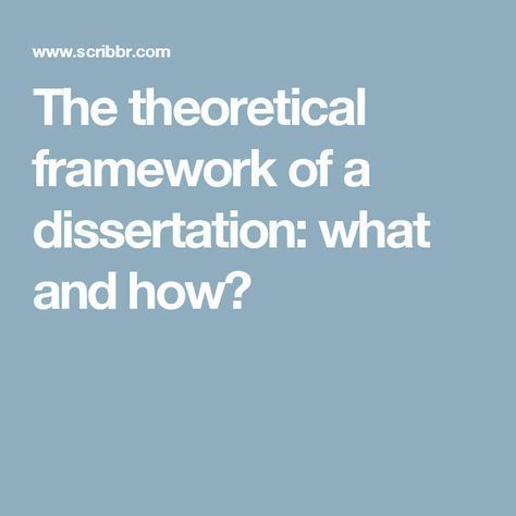 Writing a theoretical dissertation