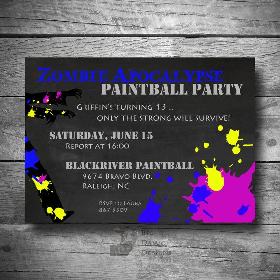 Printable Paintball Party Invitation, Zombie Apocalypse Paintball Party Invite, Paintball E-Invitation