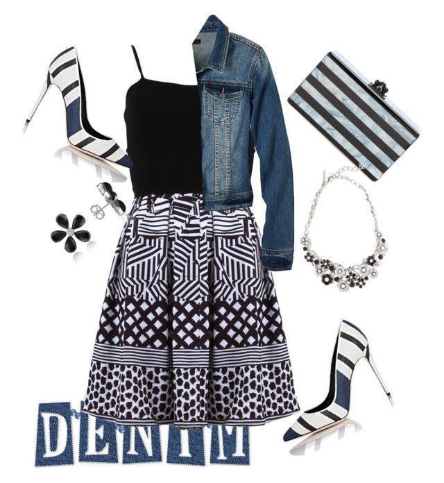 """Black n White n Blue Jean"" by shawanda-lanette-elam-taylor ❤ liked on Polyvore featuring FRACOMINA, Dolce&Gabbana, prAna, Edie Parker, Oscar de la Renta, Del Gatto and Jeanjacket"