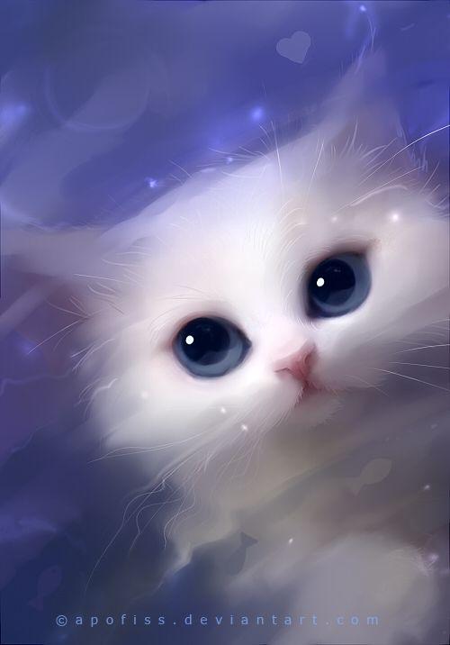 by *Apofiss: Cat Art, Animal Painting, Animal Art, White Cats, Digital Art, Blue Eyes, Aka Apofis, Apofiss Art