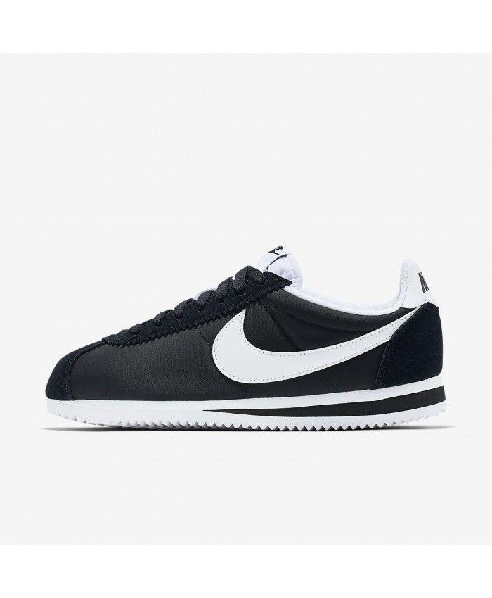 5bac4e024193 Nike Cortez Nylon Black White Trainers Outlet UK