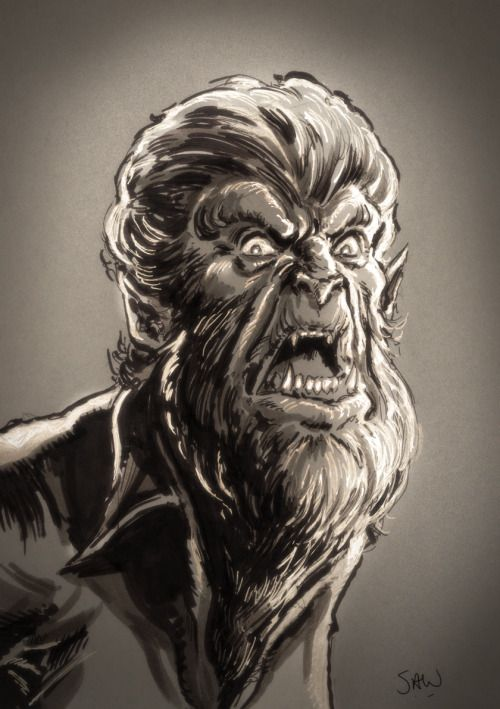 """""""Even a man who is pure at heart and says his prayers by night, may become a Wolf when the Wolfbane blooms… and the Moon is full and bright"""". A sketch of the Wolf Man from yesterdays Geeked Festive show in Newport. Thanks to Shane and Laura for..."""