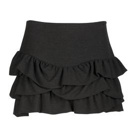 Black tiered mini skirt | Jupe à volants MAJE