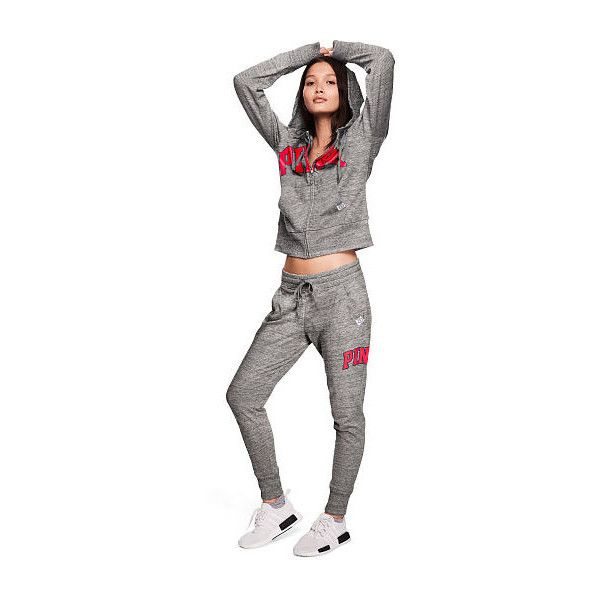 PINK Skinny Jogger ($47) ❤ liked on Polyvore featuring activewear, activewear pants, blue, pants and pink sportswear