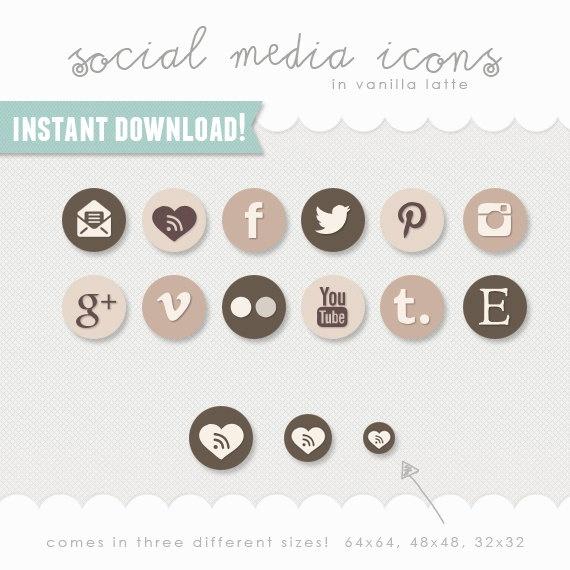 social media icons - vanilla latte (browns, neutrals)