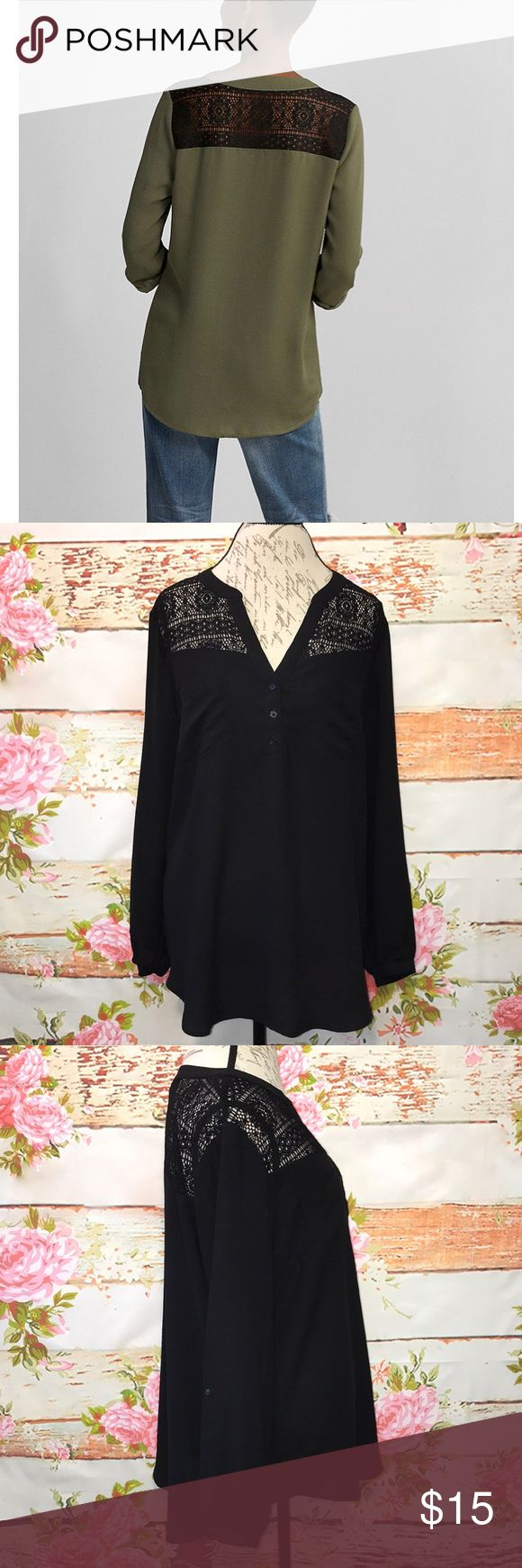 """Express Lace Yoke V-Neck Blouse Express size XL Lace Yoke Deep V-Neck Blouse in black. This blouse's softness & mix of textures are just so crush-worthy. The lace of the shoulder yoke, deep v-neck, drapey sleeves & sumptuous lightweight fabric add up to one versatile, feminine look. V-neck with 3 buttons below. Dual breast pockets. Puckered sleeve ends with roll tabs. Rounded bottom hem. 100% Polyester. Oversized fit. Bust: 22"""", Length: 29"""". EUC! Retail: $39.90 Express Tops Blouses"""