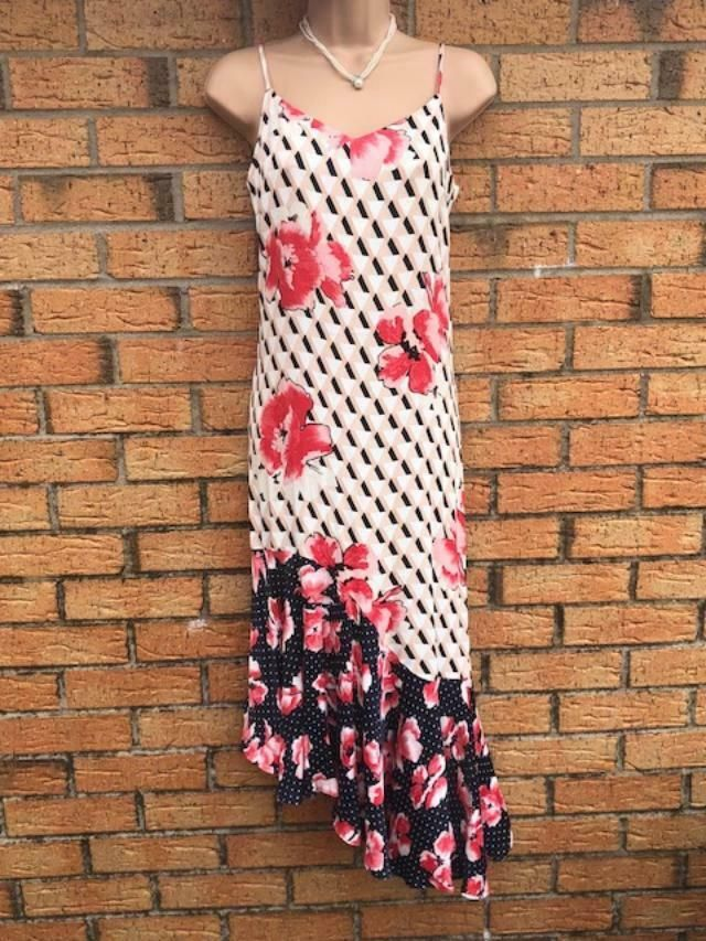 fc28214c7fcf PRETTY M&S RED BLUE FLORAL A-SYMETRIC STRAPPY SUMMER DRESS MIDI HOLIDAY SIZE  18 #fashion #clothing #shoes #accessories #womensclothing #dresses (ebay  link)