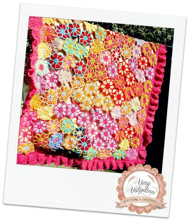 Crochet Handmade Baby Hippy flowers multicolor Blanket, Coperta all'uncinetto con fiori colorati bimba bambina, fatto a mano