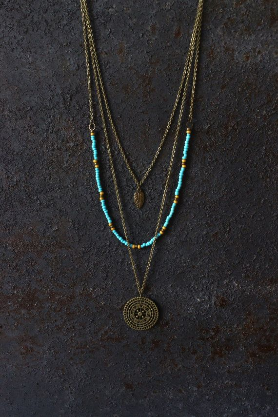 Welcome dear visitor, Im happy to see you here! This is a handmade boho / hippie style layered (multi strand) necklace. Looks great with a smily