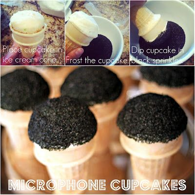 Microphone cupcakes - super cute idea for a rockstar party.  Not sure if it would work, but if you could use aersol coloring like used for cake decorating to make the cones silver or some other color.  That would be extra cute!
