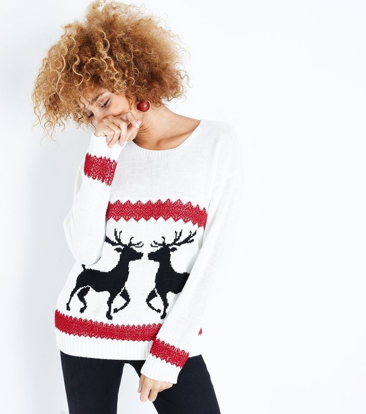 Mela Cream Reindeer Christmas Jumper | New Look