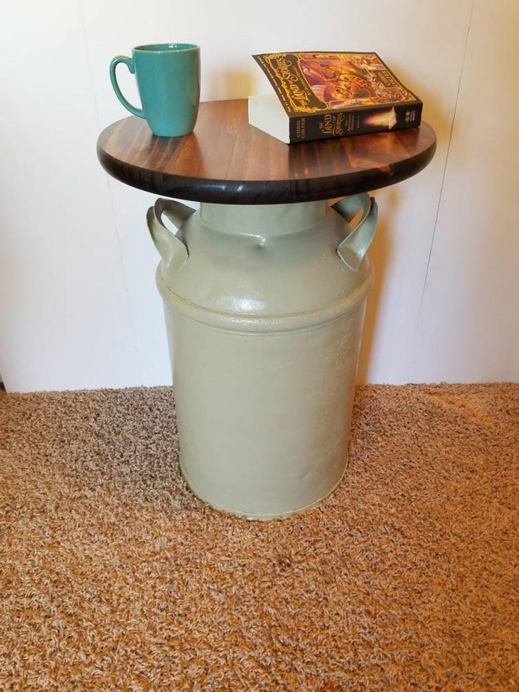 Milk Can Table / Vintage Repurposed Furniture / Authentic