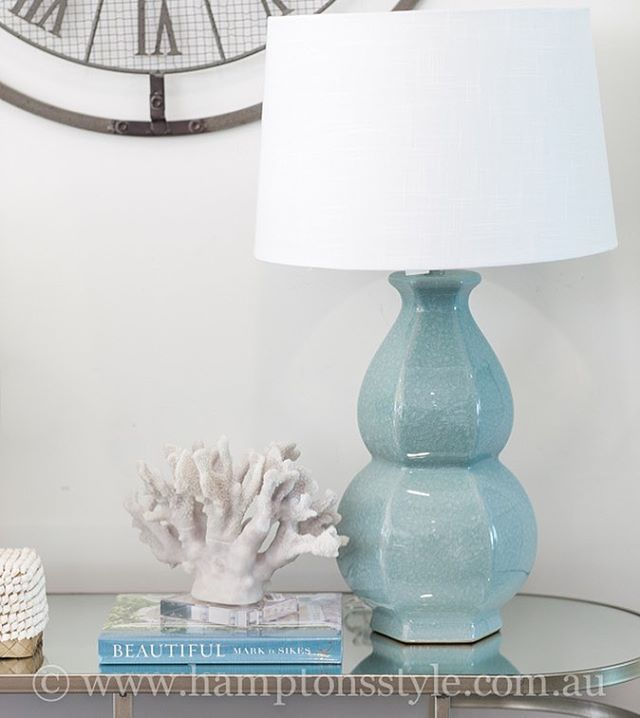 The Enchantment Lamp In Crushed Mint Is Such A Beautiful Feature For That Hamptons Bedroom Side Table Style Tip R Lamp Hamptons Style Side Tables Bedroom