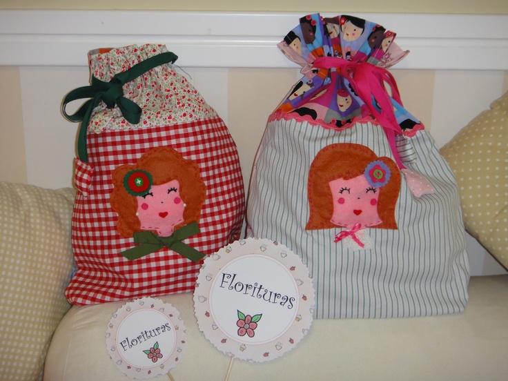 Bolsitas de tela hechas artesanalmente ideales para llevar la merienda, ropa, pañales...etc...