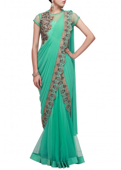 pre stitched saree gown in turq by Ruchi Roongta