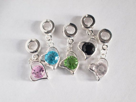 heart charms with coloured stones by ctdscraftsupply on Etsy