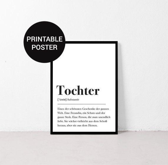 Tochter Definition, Geschenk für Tochter, Familie, Plakat Wörterbuch, Poster mit Text, Skandinavisch Geburtstagsgeschenk