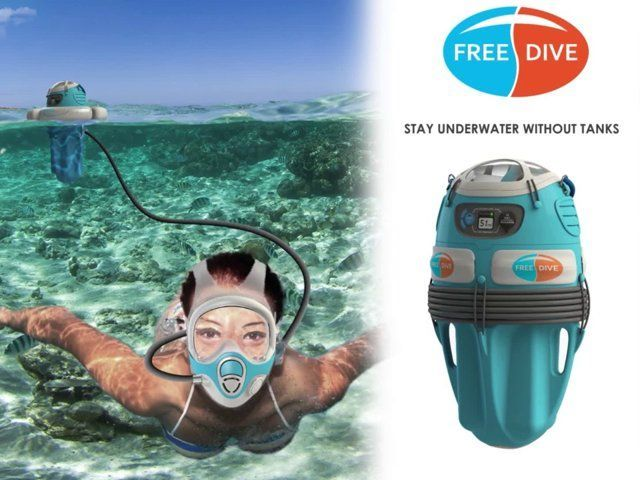 There's a gap in equipment between SCUBA diving and snorkelling. Freedive bridges that gap. With Freedive people can dive to six meters and stay there for over an hour without surfacing. No need for cumbersome SCUBA gear, special training, or to be tethered to a boat. A person using Freedive just carries one bucket-sized unit into the water; uncoils and attaches the hose to the full-face mask, puts on the mask, turns on the compressor and jumps in. The compressor unit floats on the surface…