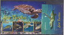 #МОНТСЕРРАТ (БЗТ) 2016 морские черепахи 1 БЛОК  1 ЛИСТ ДЕШЕВО КУПИТЬ ПОЧТОВЫЕ МАРКИ (40) - 590 р. #  Уважаемые покупатели! Предлагается купить 1 блок и 1 лист марок Монтсеррата (Британская зависимая территория) 2016 г.Лошади