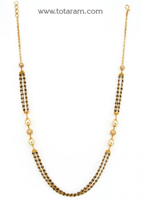 22K Gold Necklace with Black Crystals , Cz & Chinese Pearls: Totaram Jewelers: Buy Indian Gold jewelry & 18K Diamond jewelry