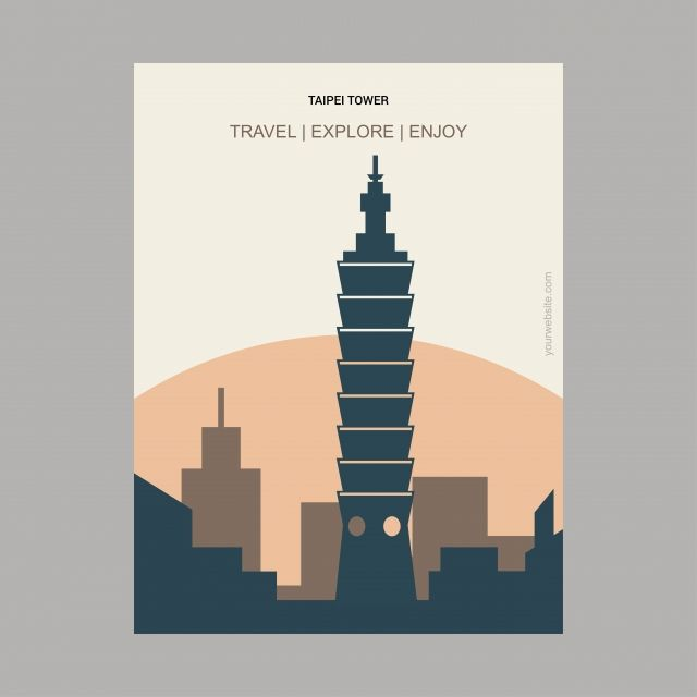 Taipei Tower Taiwan Vintage Style Landmark Poster Template With