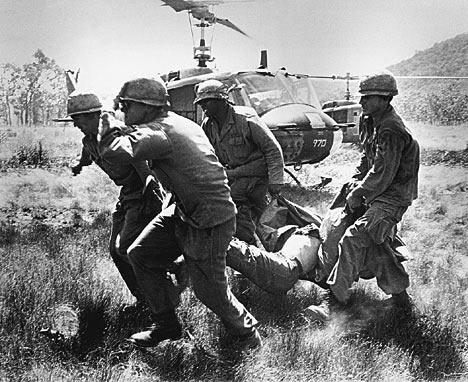 US Marines evacuating casualties during the siege of Khe Sanh, Vietnam, January-April 1968.