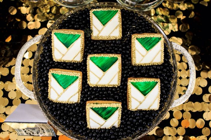 Elegant cookie design to match the setting of the dessert buffet