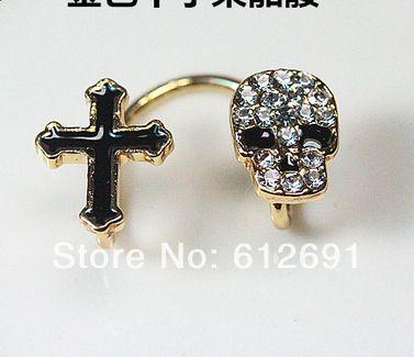 Горячие Корейской хрустальный череп уха клип не пронзили крест клипсы уха мода 2015 кристалл уха манжеты серьги для женщин ювелирные изделия LM-C302 Горячие