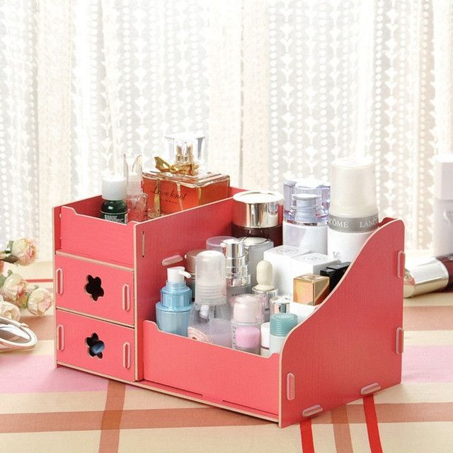 Hoomall Wooden Storage Box Jewelry Container Makeup Organizer Case - Cosmetic makeup organizer wood countertop organizer by lessandmore