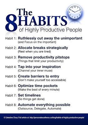 "Honestly evaluate your own productivity and how you can improve. Dr Stephen Covey's ""The 8 Habits of Highly Effective People"" could help.  www.challonerainsworth.co.uk"
