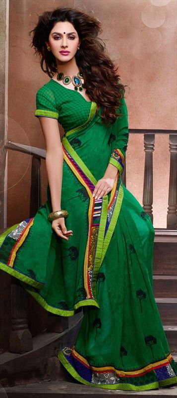 128886, Party Wear Sarees, Embroidered Sarees, Faux Georgette, Patch, Zari, Border, Machine Embroidery, Resham, Green Color Family