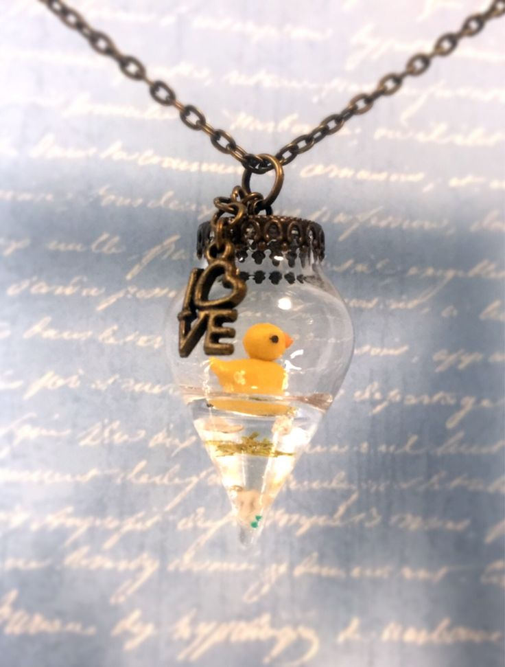 Excited to share the latest addition to my #etsy shop: Tiny message I love you, Miniature Rubber duck in the Bottle,Polymer clay,Cute,Handmade,necklace,Resin #jewelry #necklace #birthday #miniaturebottle #shell
