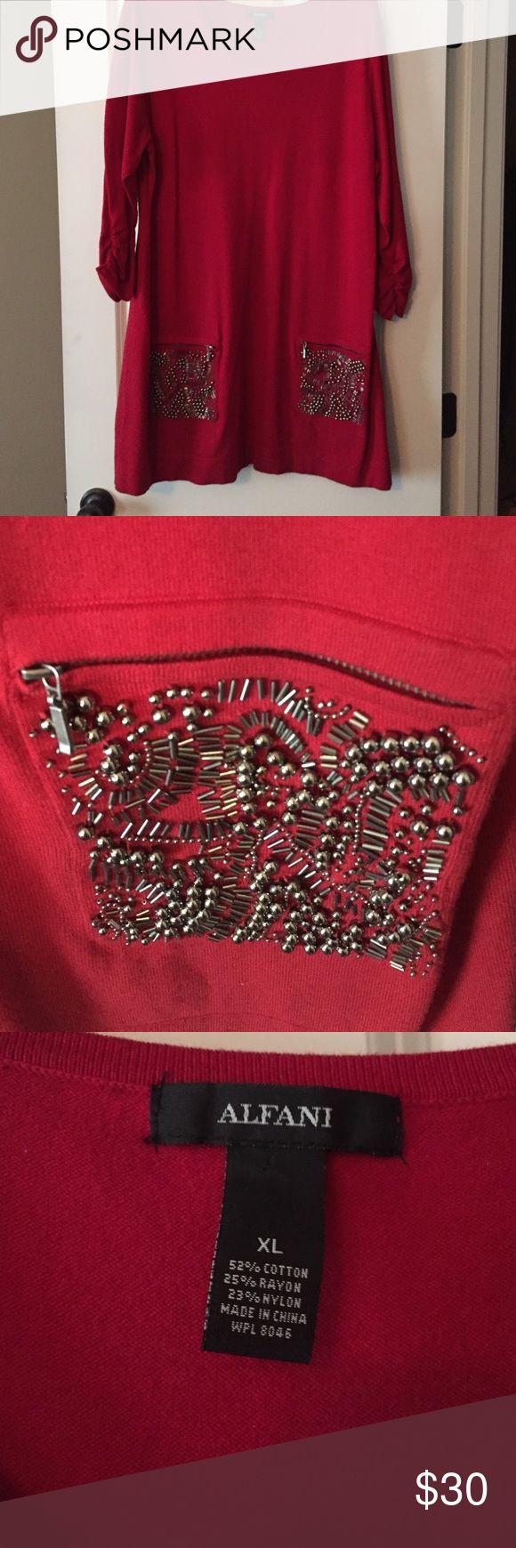 Alfani red tunic dress. Really cute red tunic dress with silver beaded pockets. Alfani Tops Tunics