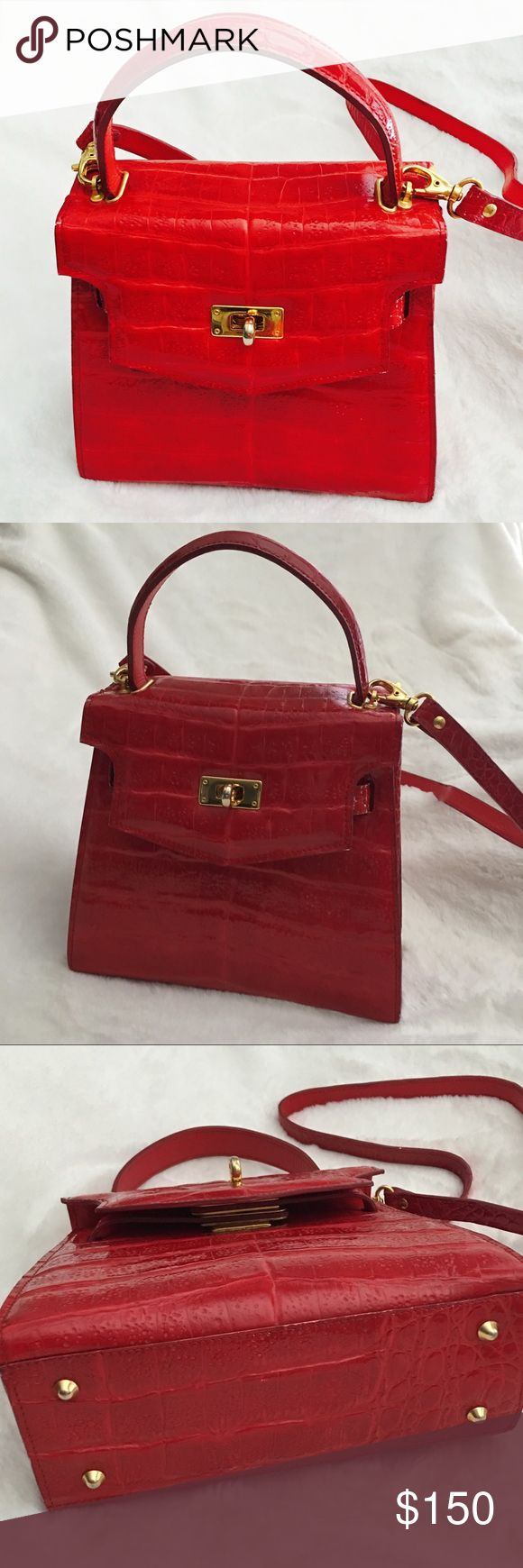 "Retta Wolff Small Red Ligator Purse Exotic Red ""Ligator"" Purse. •GUC •Made in Italy {Please see all pics for wear} Retta Wolff Bags"