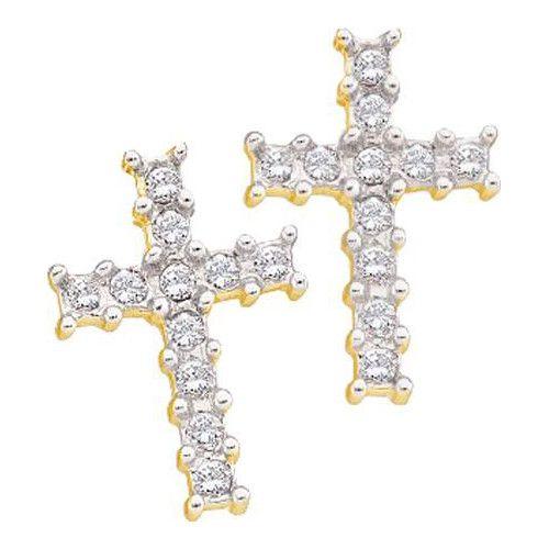 1/10CTW-Diamond CROSS EARRING
