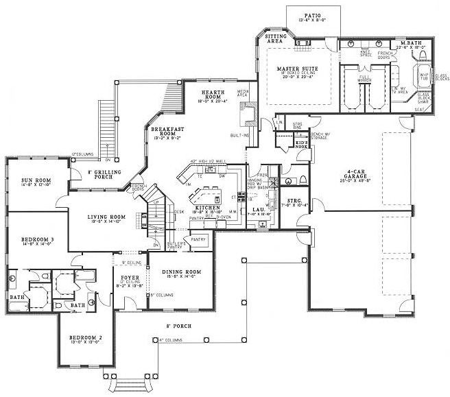 4 car garage floor plan house plans pinterest House plans with 4 car attached garage