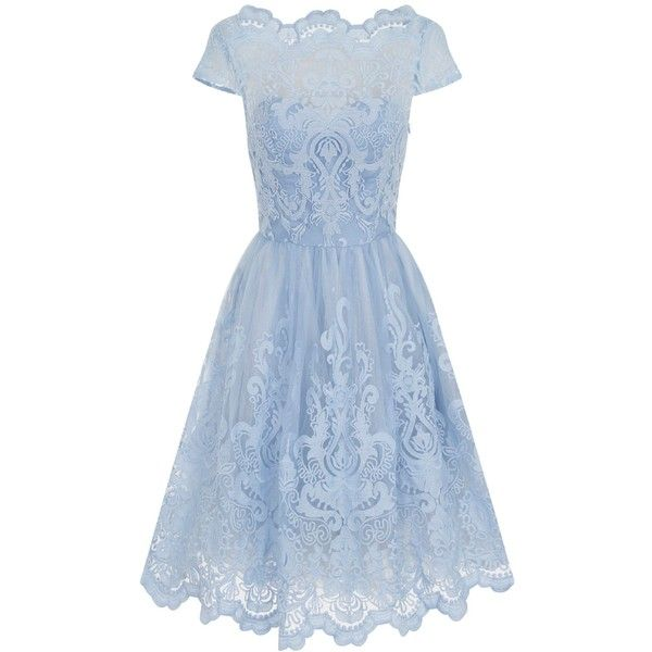 Chi Chi London Baroque Style Tea Dress ($98) ❤ liked on Polyvore featuring dresses, blue, women, cocktail dresses, blue midi dress, sleeveless cocktail dress, holiday dresses and evening dresses