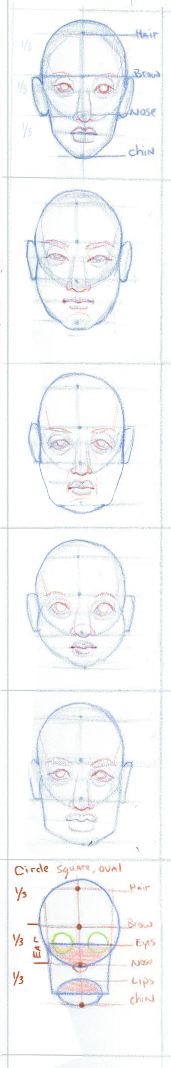 This is exactly how my 5th grade art teacher taught us to draw a head / face.