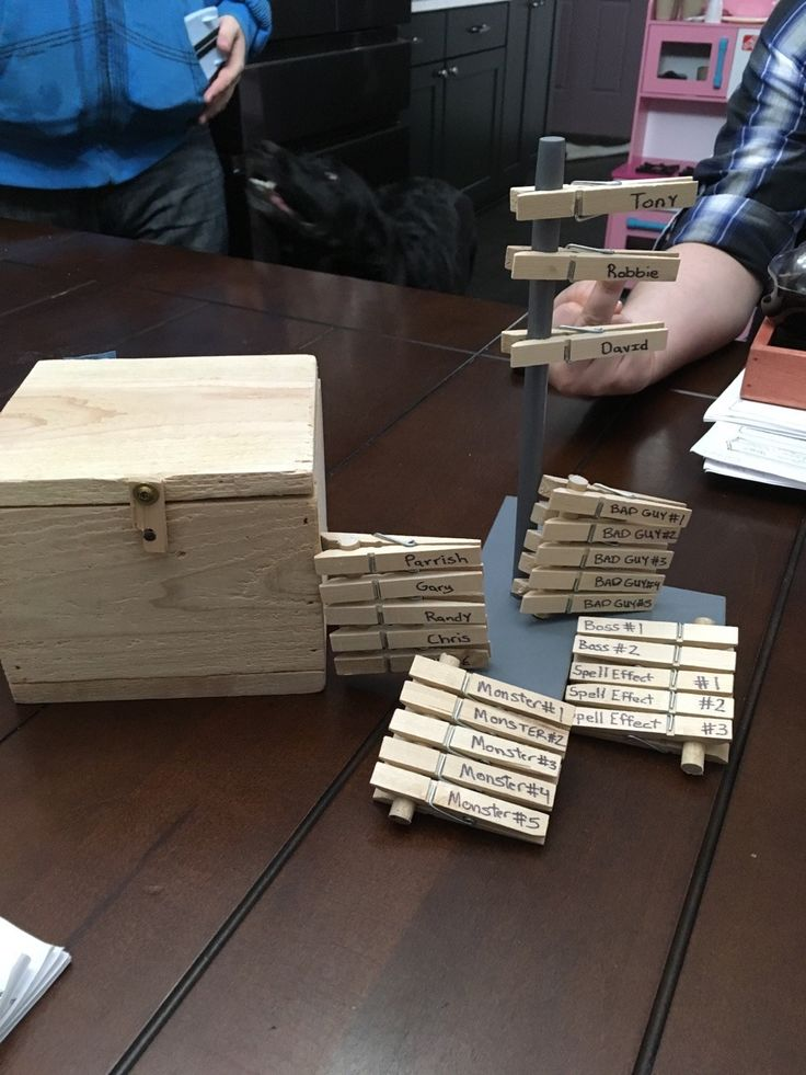 The Initiative Tree  I just showed up to my buddy's house for our weekly D&D Night, and he pulled out this awesome creation that he built. After we roll for Initiative, we each put on our clothespin...