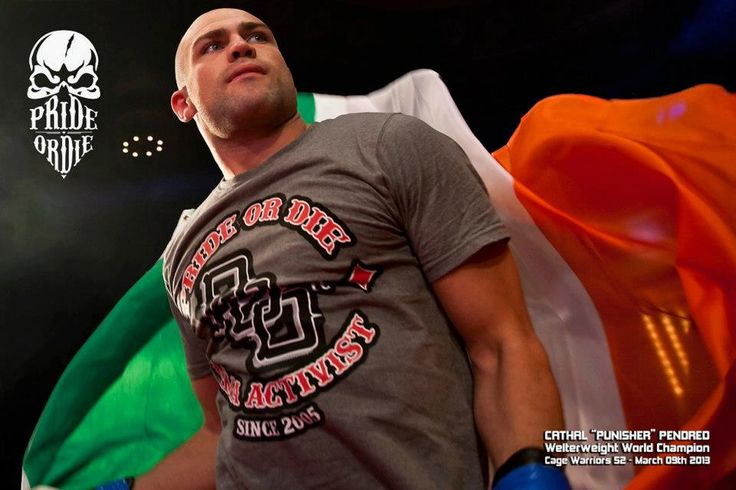 "Cathal ""Punisher"" Pendred - Cage Warriors Welterweight World Champion. Tshirt PRiDEorDiE ""P.O.D."" http://www.prideordie.com/en/t-shirts/27-t-shirt-pod.html  Credit photo: Cage Warriors/Dolly Clew"
