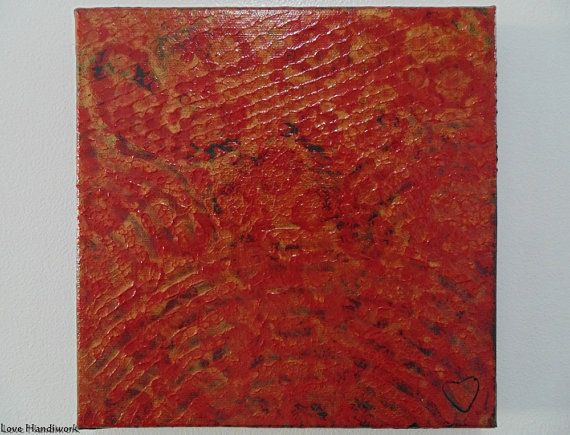 Red & Gold on Black Abstract Square Painting 8x8 by LoveHandyWork