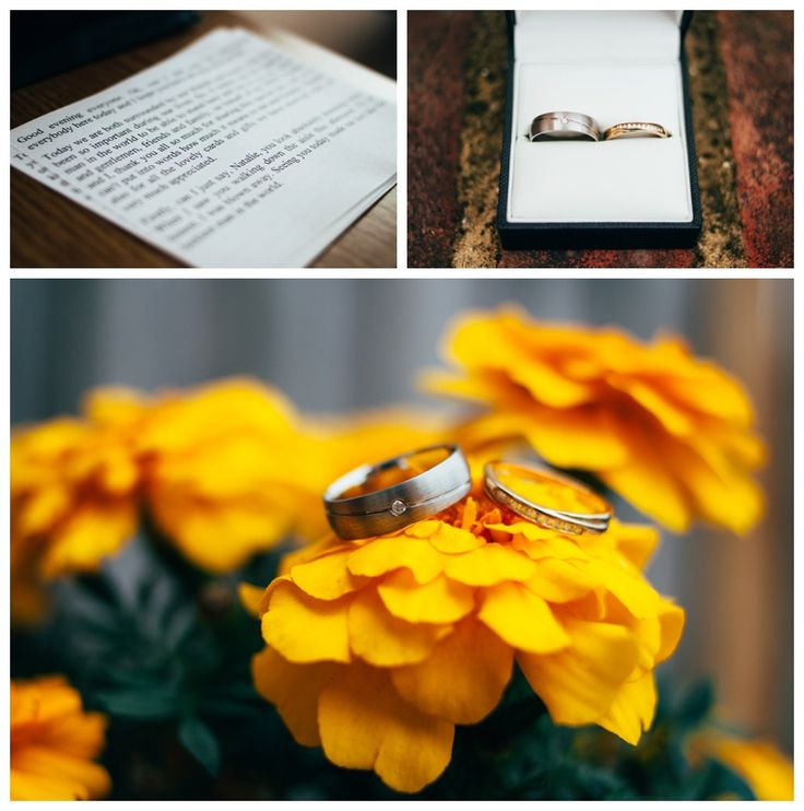 Details of groom speech and rings in yellow flowers